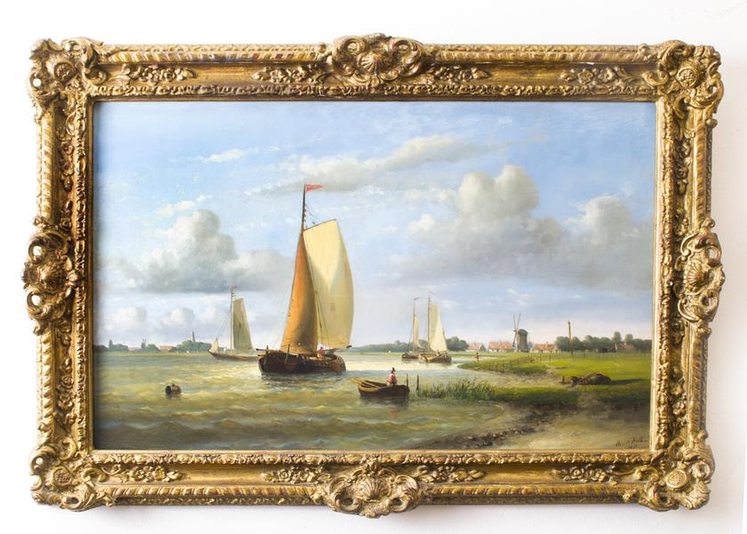 "Antique Oil Painting Hendrick Hulk "" Dutch Shipping"" photo 1"