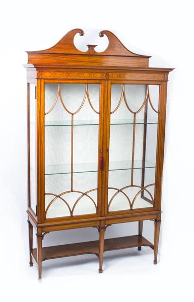 Antique Edwardian Satinwood Display Cabinet C.1900 photo 1