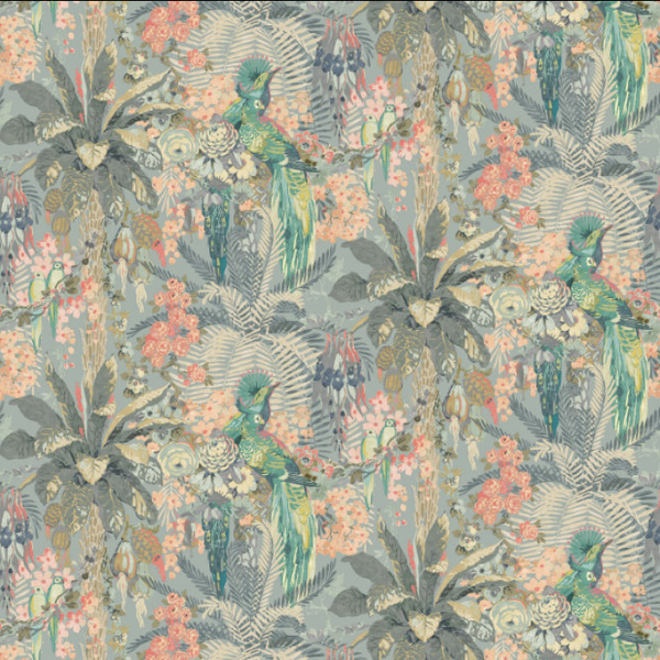 Rainforest Rabble Wallpaper   Powder Blue