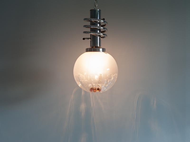Mazzega Tinted White And Orange Globe Light