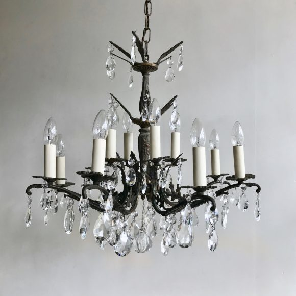 Pair Of Ornate Chandeliers With Glass And Crystal Pears