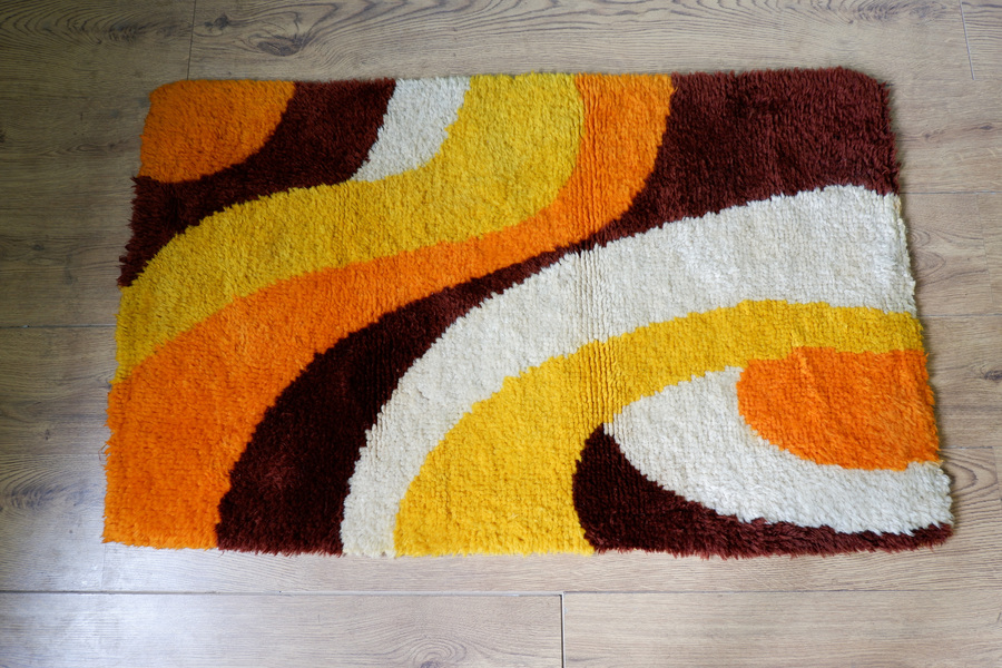 Rya Scandinavian Orange Wool Rug