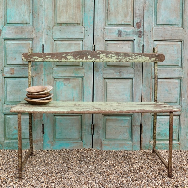 Antique Indian Green Painted Wooden Bench, Rajasthan