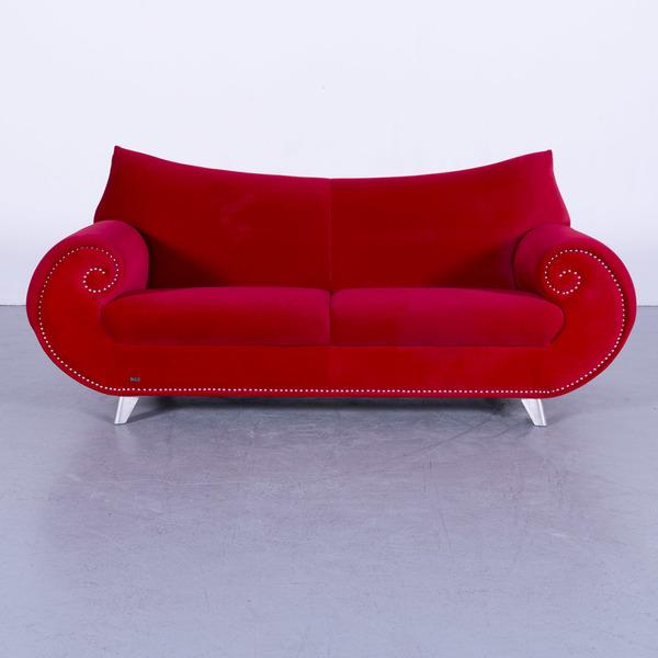 Bretz Gaudi Velvet Sofa Red Two Seater Couch Fabric Modern #5721