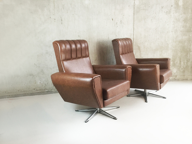 1970's Belgian Mid Century Brown Vinyl Armchairs On Swivel Base
