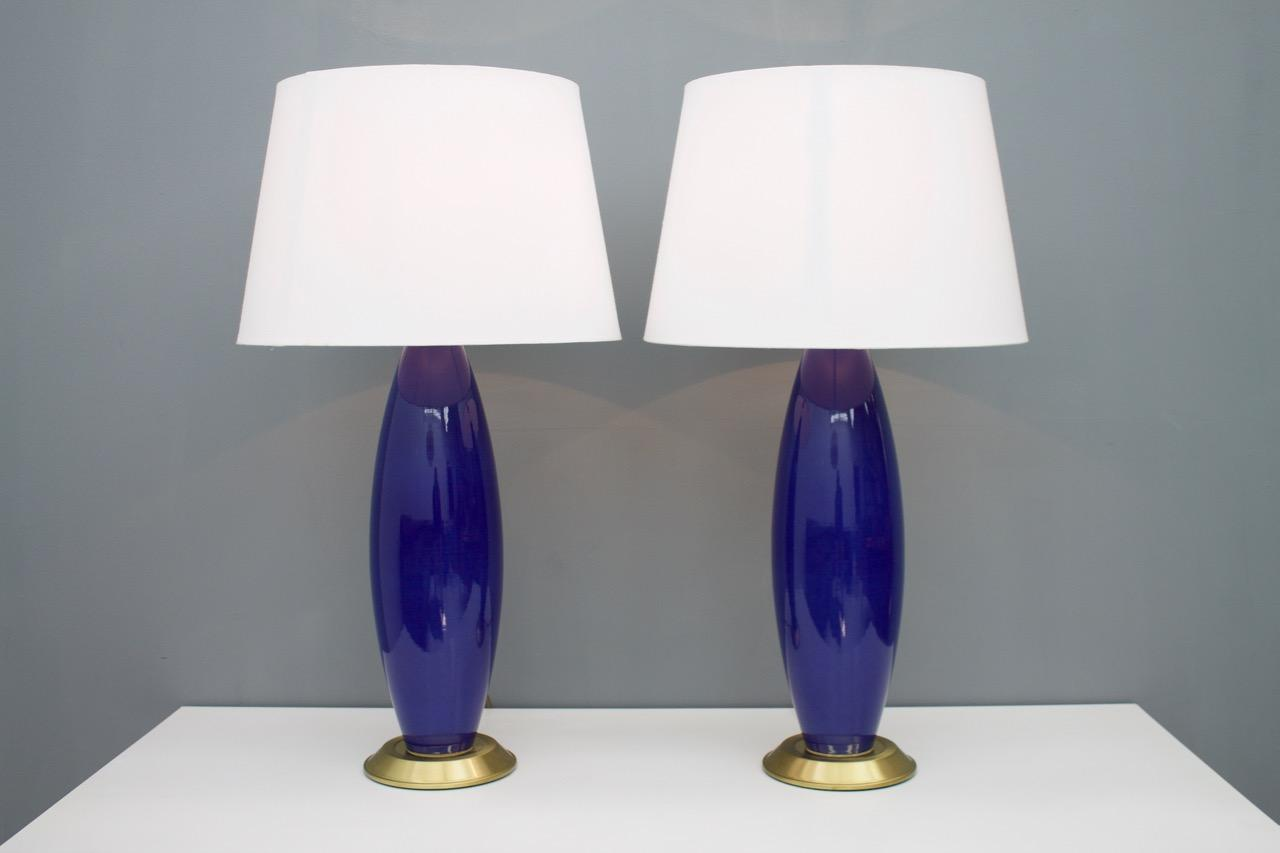 Pair Cobalt Blue Glass Table Lamps With