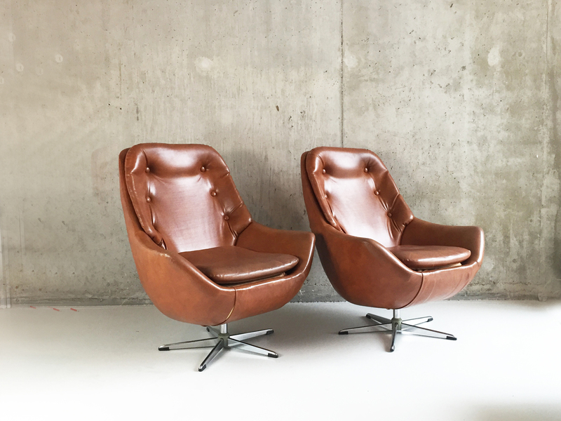 1970's Belgian Mid Century Brown Vinyl Armchairs With Button Detail