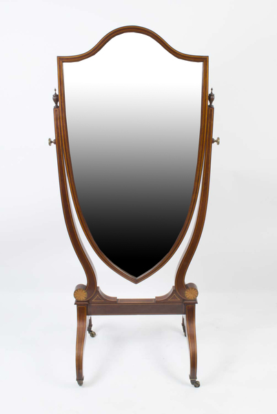 Antique Edwardian Inlaid Cheval Mirror Shield C.1900 photo 1