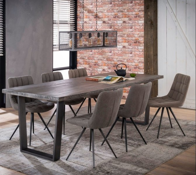Industrial Style Dining Room Tables: Large Industrial Style Steel Legged Dining Table Office