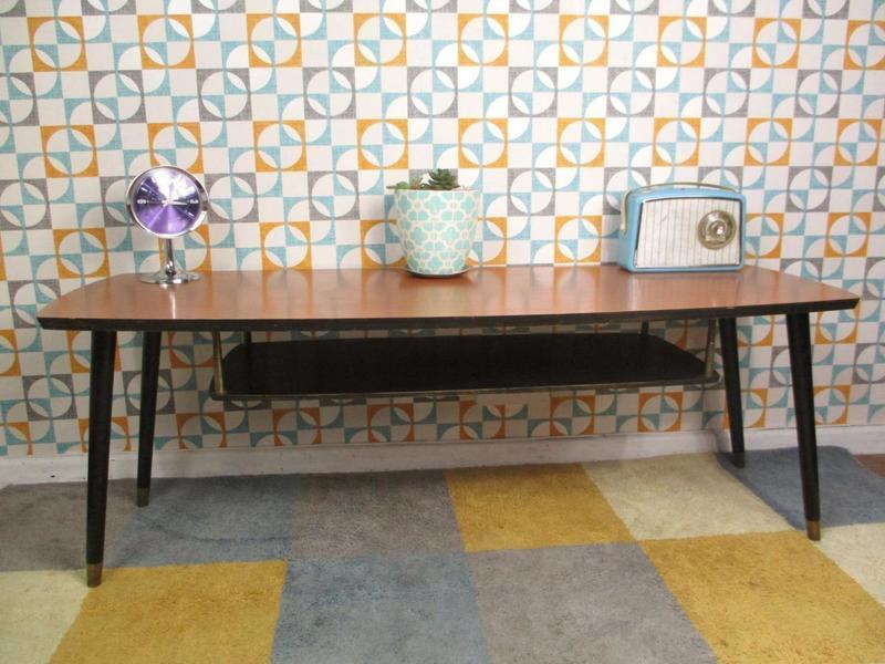 Vintage 1960's Long Formica Dansette Coffee Table Retro Sputnik Mid Century Mcm