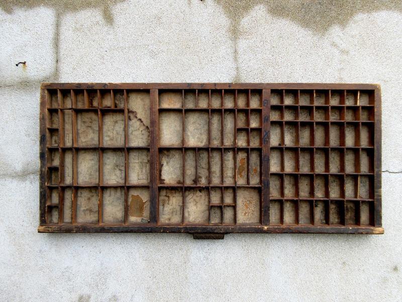 Vintage Wooden Industrial Printers Tray Letterpress Drawer With Original Handle