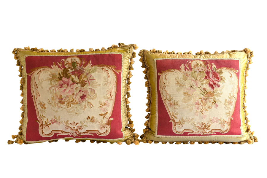 Pair Of 19th Century French Abusson Pillows