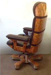 A Leather And Burr Walnut Swivel Chair On Cast Metal Base Possibly Italian C1970 80s Vinterior