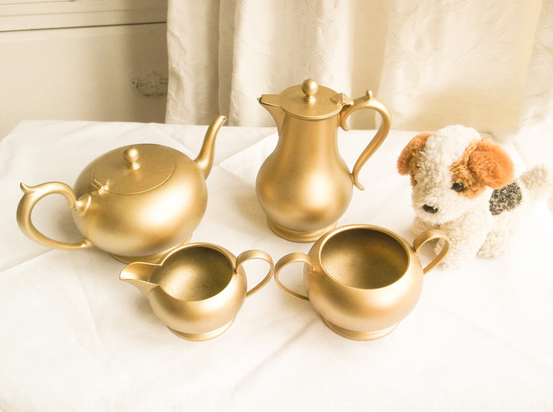 Antique Gilt Metal Tea/Coffee Set Antique Gilt Teapot Sugar Bowl Milk Jug 4 Piece