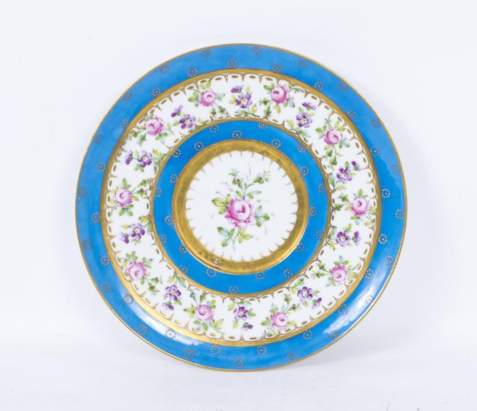 Antique Sevres Porcelain Bleu Celeste Porcelain Plate C1880 photo 1