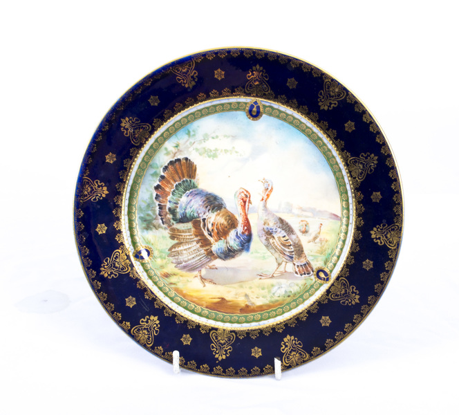 Antique Vienna Porcelanin Cabinet Plate Turkeys C1900 photo 1