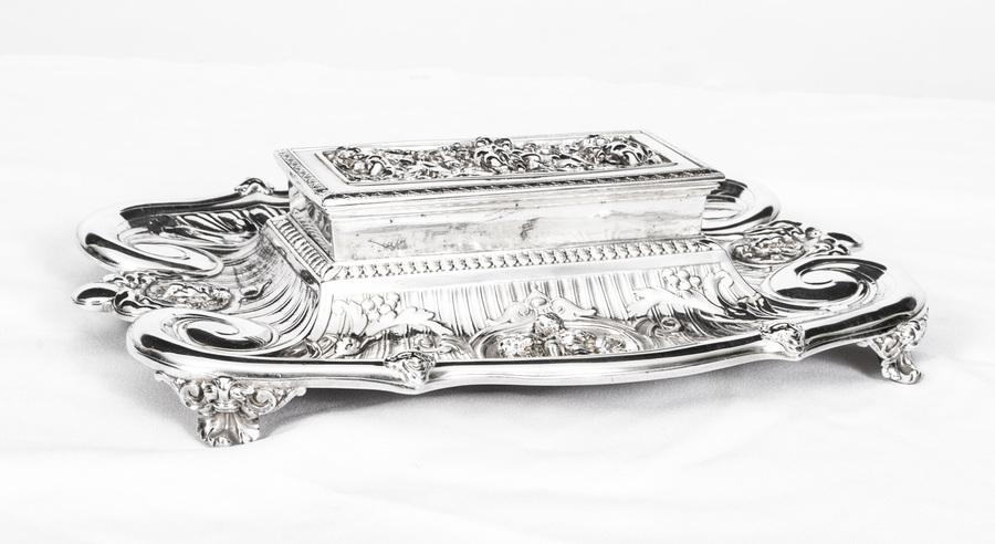 Antique Victorian Silver Plated Inkstand C.1860 photo 1
