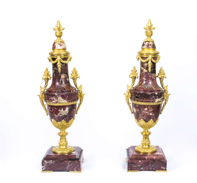 Antique Pair Louis Xv French Rouge Marble Urns C1870 photo 1
