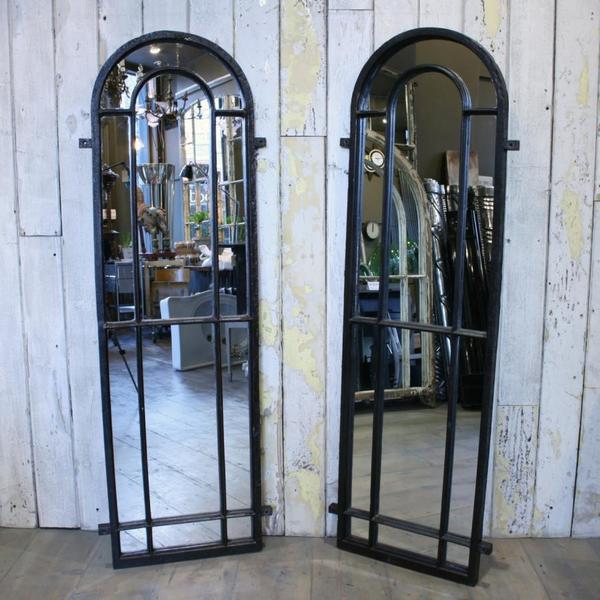 Pair Of Antique Gothic Cast Iron Window Mirrors