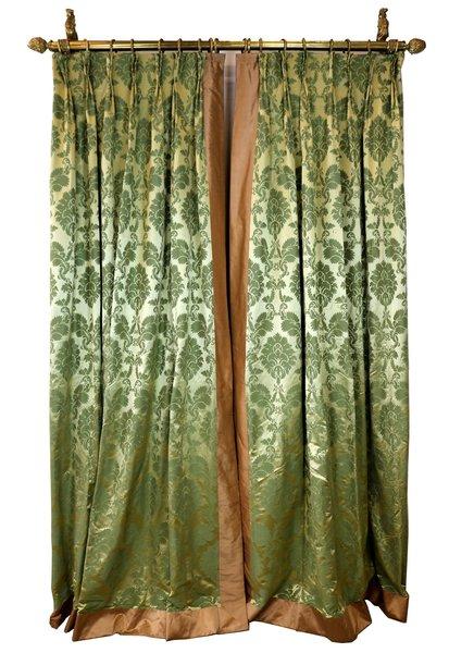 Green Silk Damask Curtains