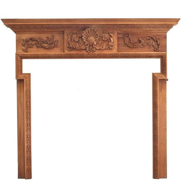 Antique Hand Carved Pine Surround