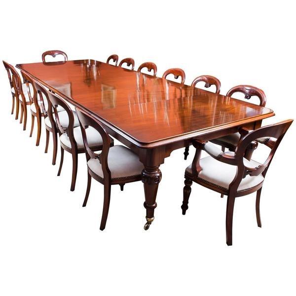 "Antique 13ft 6"" Victorian Dining Table C1850 &14 Chairs"
