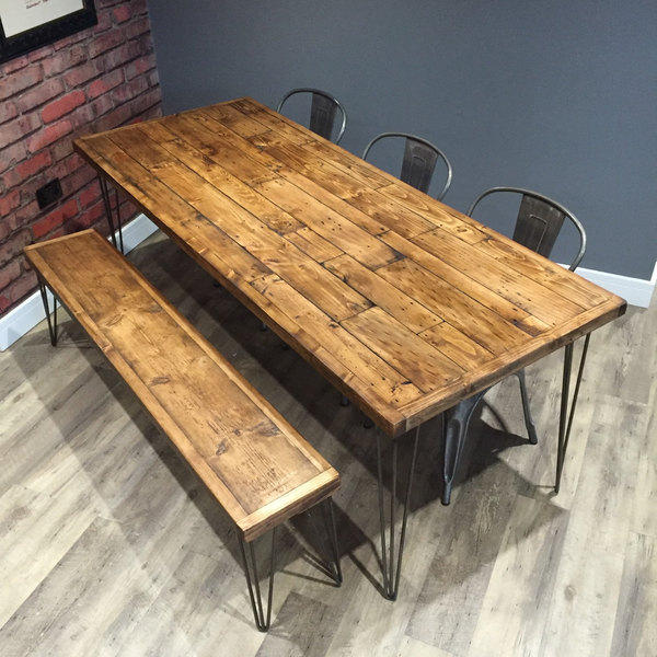 Reclaimed Pallet Dining Table And Bench Hairpin Legs By: Reclaimed Industrial Pallet Wood Dining Table 140cm & 1