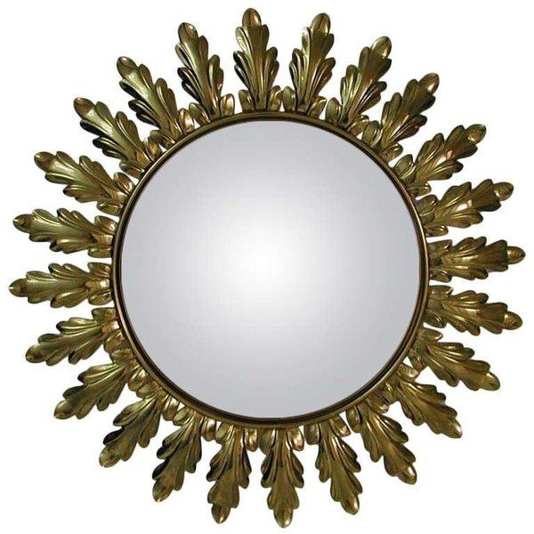 Mid Century 1950s French Sunburst Starburst Gilt Convex Wall Mirror