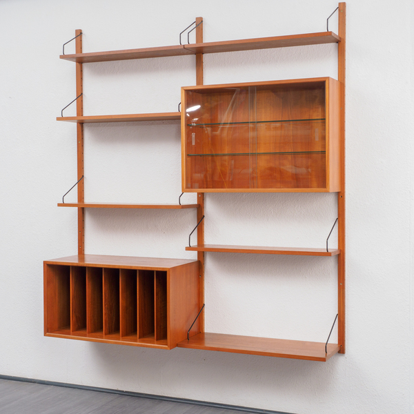 """1960 Teak Shelving System """"Royal System"""", P. Cadovius, With Cabinet, Professionally Restored"""