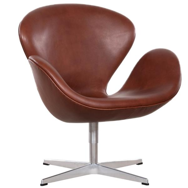 Arne Jacobsen Swan Chair 'Model 3320' In Brown Leather For Fritz Hansen Denmark