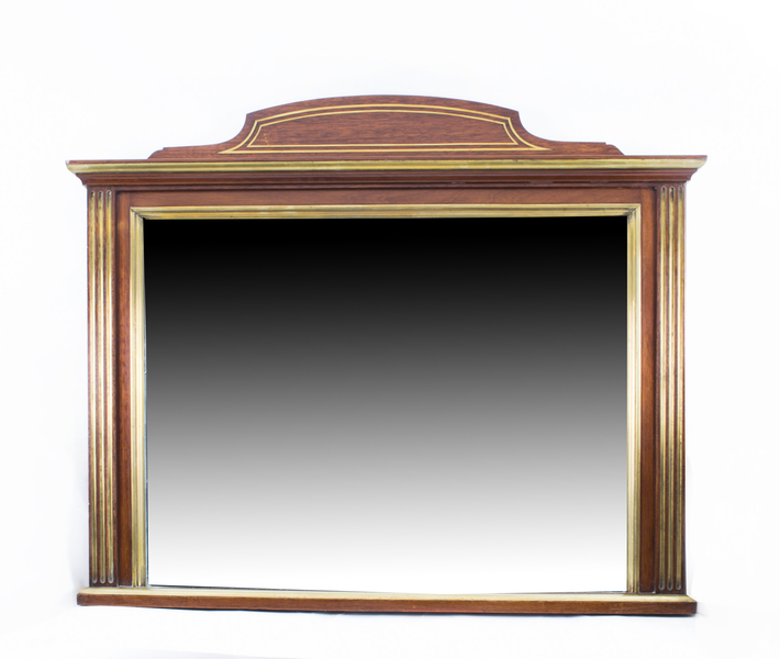 Antique Mahogany Brass Inlaid Over Mantle Mirror C1900 photo 1