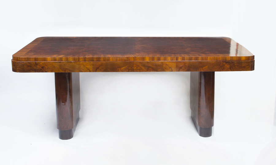 Antique Art Deco Walnut & Rosewood Dining Table C1920