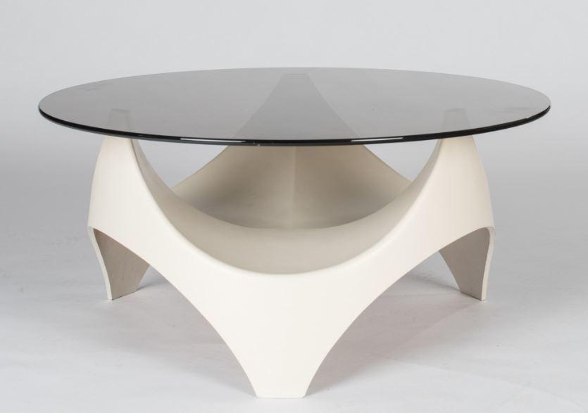 Vintage Space Age Opal Coffee Table Smoked Glass Organic Shape