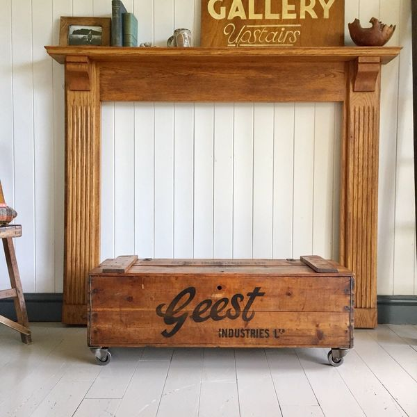 Vintage Industrial Chest Old Wooden Trunk Coffee Table Pine