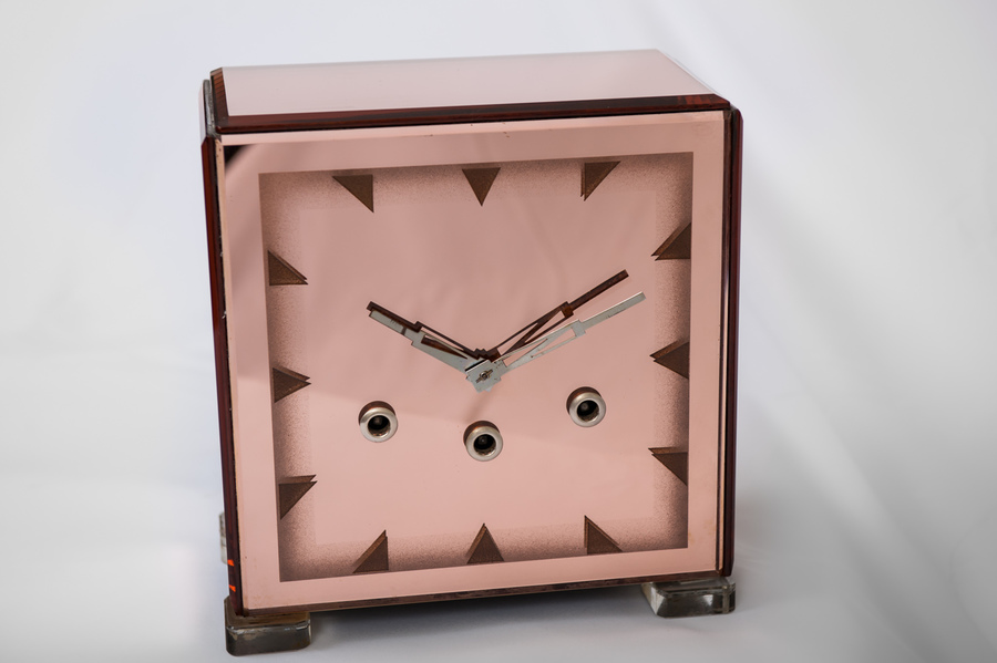 Art Deco Rose Pink Glass Clock
