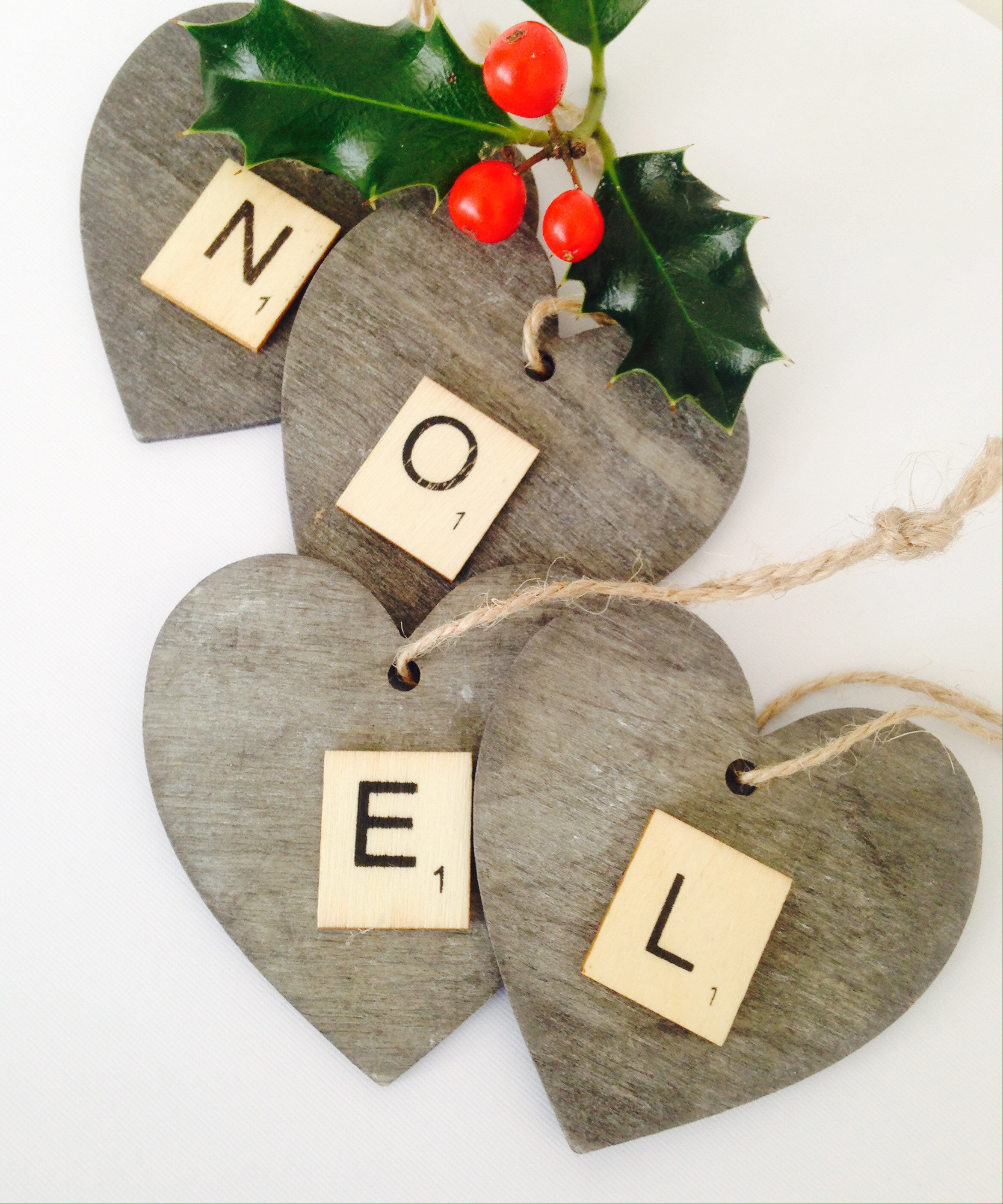 Set Of 4 Wooden Nordic Christmas Ornaments Hand Painted Slate Grey Hearts Embellished With Noel Scrabble Letters Vinteriorco