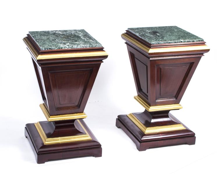 Antique Pair Of Victorian Mahogany & Marble Pedestals C1870