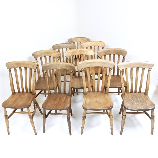 10 Antique Windsor Kitchen Chairs