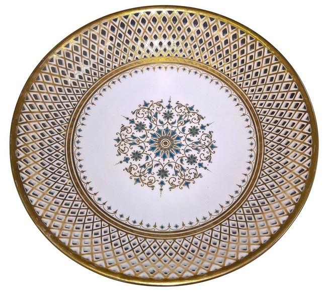 Antique Austrian Fischer And Mieg Reticulated Fine Porcelain Dessert Service 8 Pieces