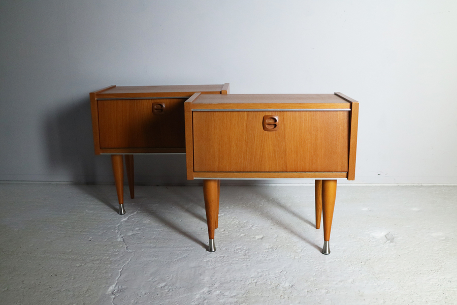 Pair Of 1960's Mid Century French Bed Side Cabinets