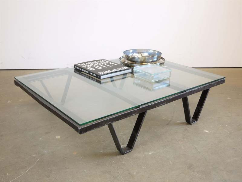1970's  Industrial Low/Occasional/Coffee Table With Thick Glass Top