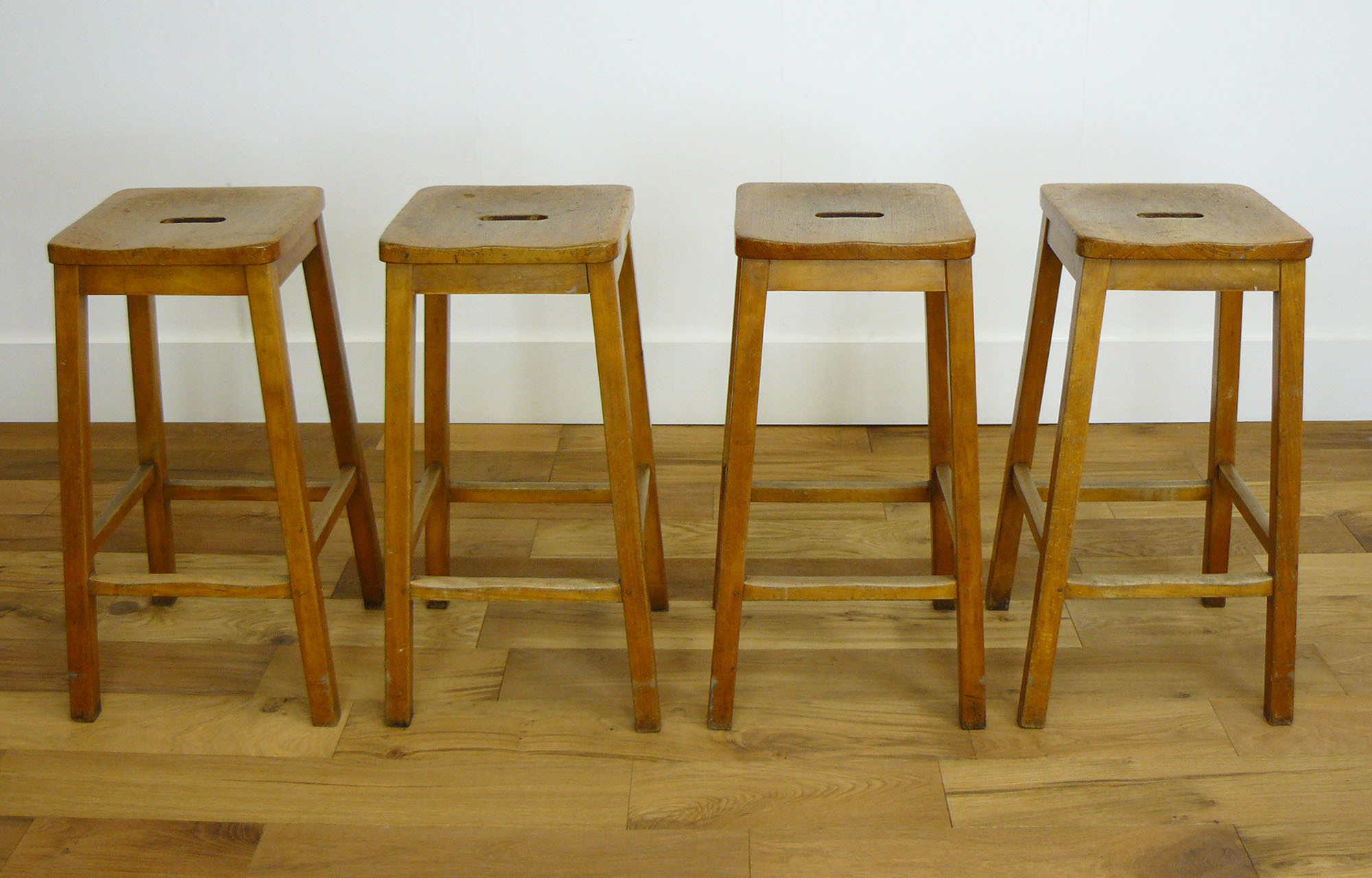 Set Of Four Genuine Vintage Wooden Science Lab Stools