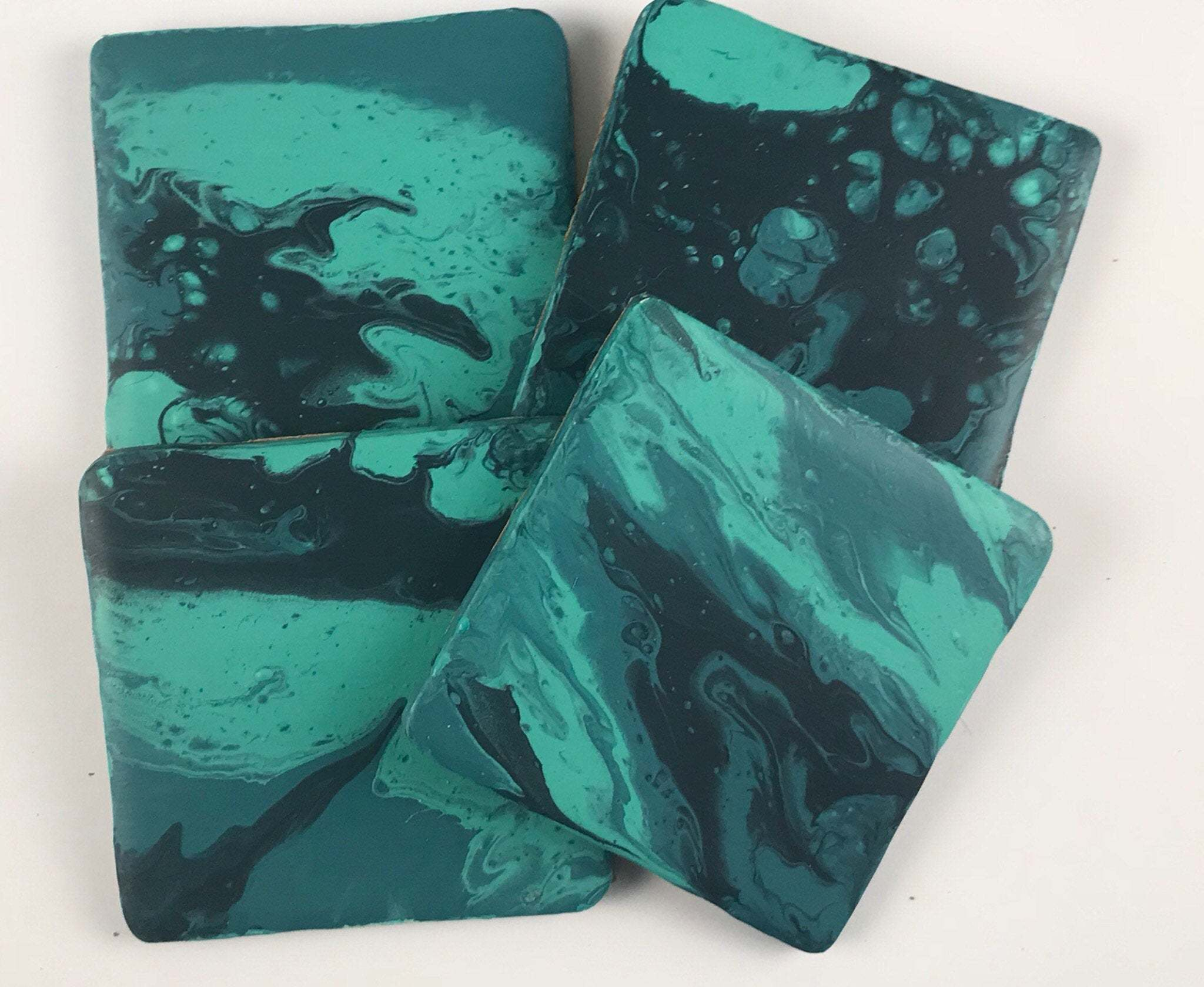 Set Of 4 Ceramic Coasters, Handmade With Acrylic Paint Pour In Teals, Made  To Order Requests Taken, Matching Set Of Coasters   vinterior co