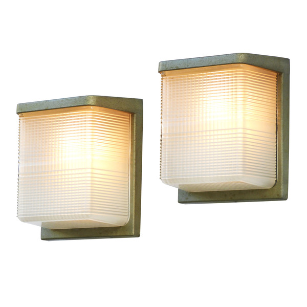 Large Pair Of Wall Lights Sconces French Midcentury Industrial Holophane Glass Flush Mount
