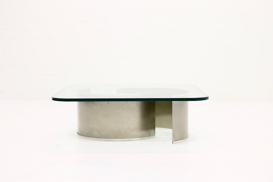 Luxury Stainless Steel And Glass French Design Coffee Table 1970s