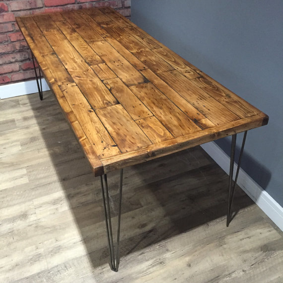Reclaimed Industrial Pallet Wood Dining Table 160cm, With Metal Hairpin Legs