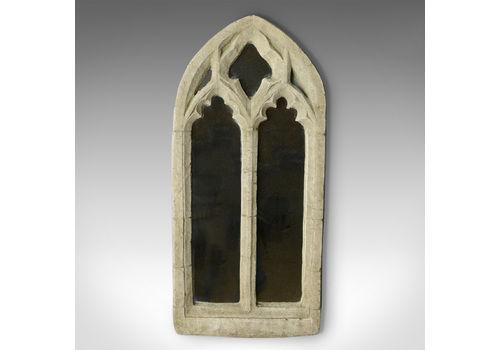 Vintage Wall Mirror, Pugin Esque, Gothic Revival, Stone, Ecclesiastical, C20th