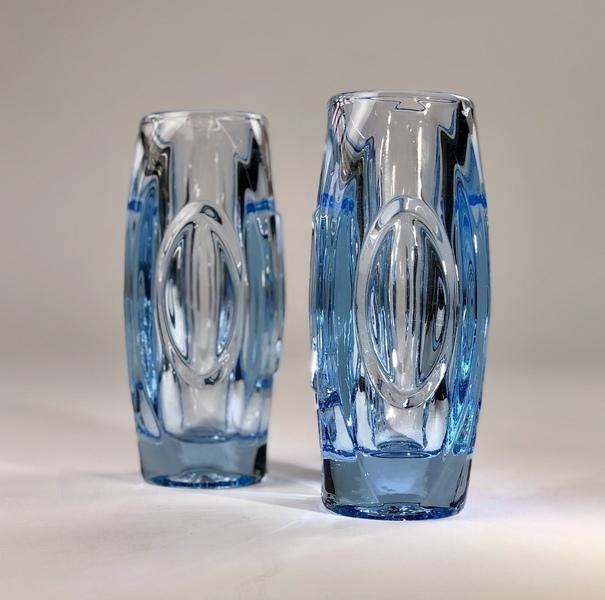 Pair Of Ice Blue Sklo Union 'Lens' Vases 1950s