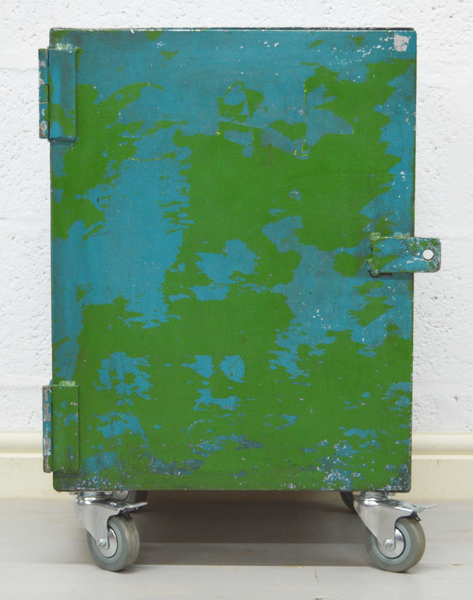 Mid Century Retro Blue And Green Industrial Metal Cabinet
