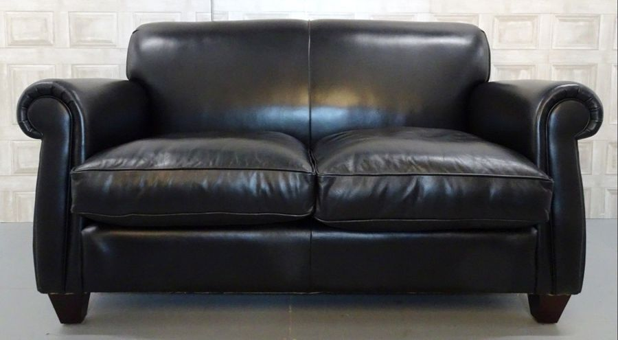 Laura Ashley Exmoor Black Leather Sofa In Very Good Condition ...